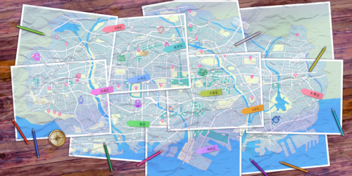 Kamihama City - Puella Magi Wiki on robbers map, maginot line map, princess map, adventure map, google map, disney's map, mtg map, mavs map, mischief map,